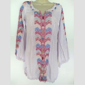 Free People Boho Embroidered Damaged Sz 0 Cover Up